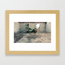 Kawsaki Ninja at Mount Stromlo Observatory ruins, ACT. Framed Art Print