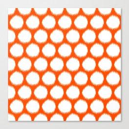 Vermillion Asian Moods Ikat Dots Canvas Print
