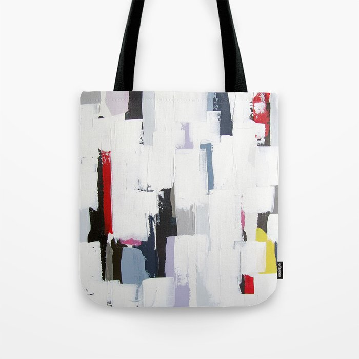 No 31 Print Of Original Acrylic Painting On Canvas 16 X 20 White And Multi Color Tote Bag By Adrianeduckworth