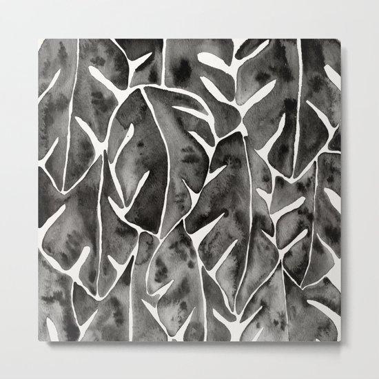 Split Leaf Philodendron - Black Metal Print