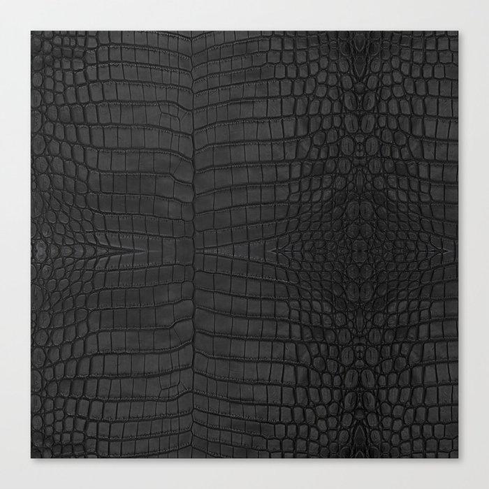 Black Crocodile Leather Print Leinwanddruck