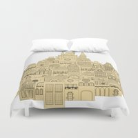 medieval Duvet Covers featuring medieval houses  by Elena Trupak