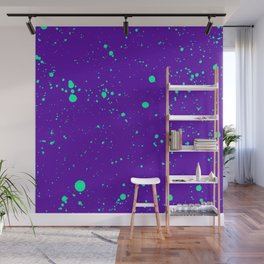 Turquoise Spray Splatters on Violet Wall Mural