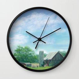 Farmstead Under Blue Skies Wall Clock