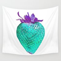 strawberry Wall Tapestries featuring Strawberry by mer.dsk