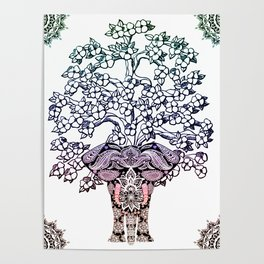 Indian Elephant Tree Of Life Poster