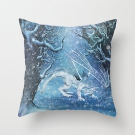 Awesome ice dragon in a winter landscape Throw Pillow