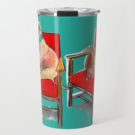 animals in chairs #14 The Greyhound and the Hare Travel Mug