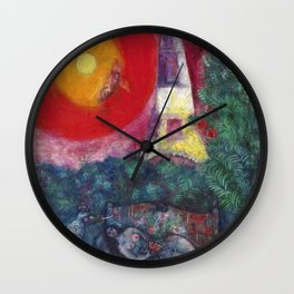The Eiffel Tower landscape painting by Marc Chagall Wall Clock