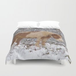 Pinto in the snow Duvet Cover