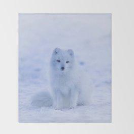 White Snow Fox Softness Throw Blanket