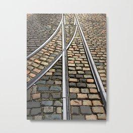 Rails and Cobbles Metal Print