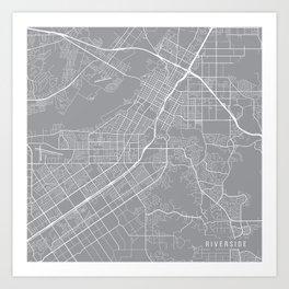 Riverside Map, California USA - Pewter Art Print