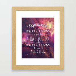 "Aldous Huxley Quote Poster - ""Experience is not what happens to you..."" Framed Art Print"