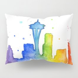 Seattle Skyline Rainbow Watercolor Pillow Sham