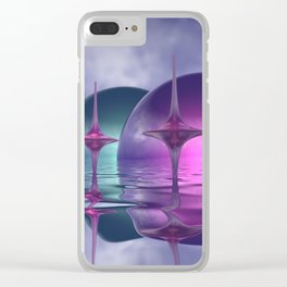 where the world is pink and turquoise Clear iPhone Case
