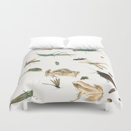 Insects, frogs and a snail Duvet Cover