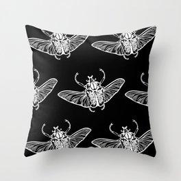 Goliath Beetle in White Throw Pillow