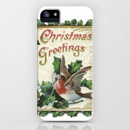 Christmas Snowbird and Golden Bells iPhone Case