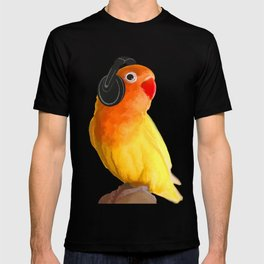 Bird Listening to Music in Outer Space T-shirt