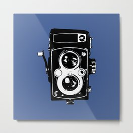 Big Vintage Camera Love - Black on Blue Background Metal Print