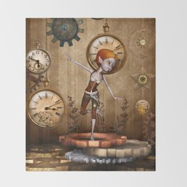Cute little steampunk girl with clocks and gears Throw Blanket