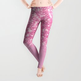 Pink Faux Glitter Gradient Leggings