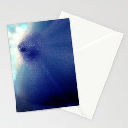 Magnificent Breast Blue Bokeh Sparkle Stationery Cards