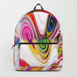 Waves and swirls, abstract, decorative patterns, colorful piece no 16 Backpack