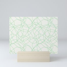 Pastel Green Scribbled Lines Abstract Hand Drawn Mosaic on Off White 2020 Color of the Year Neo Mint Mini Art Print