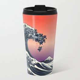 The Great Wave of Black Pug Metal Travel Mug