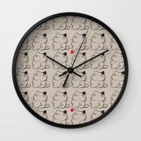 calcifer Wall Clocks featuring cats II by ururuty