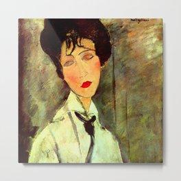 """Amedeo Modigliani """"Woman in Black Tie"""" Metal Print"""