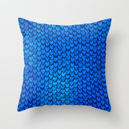 Mermaid Scales - Blue Throw Pillow