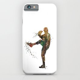 Baseball Player Boy Pitcher Watercolor iPhone Case