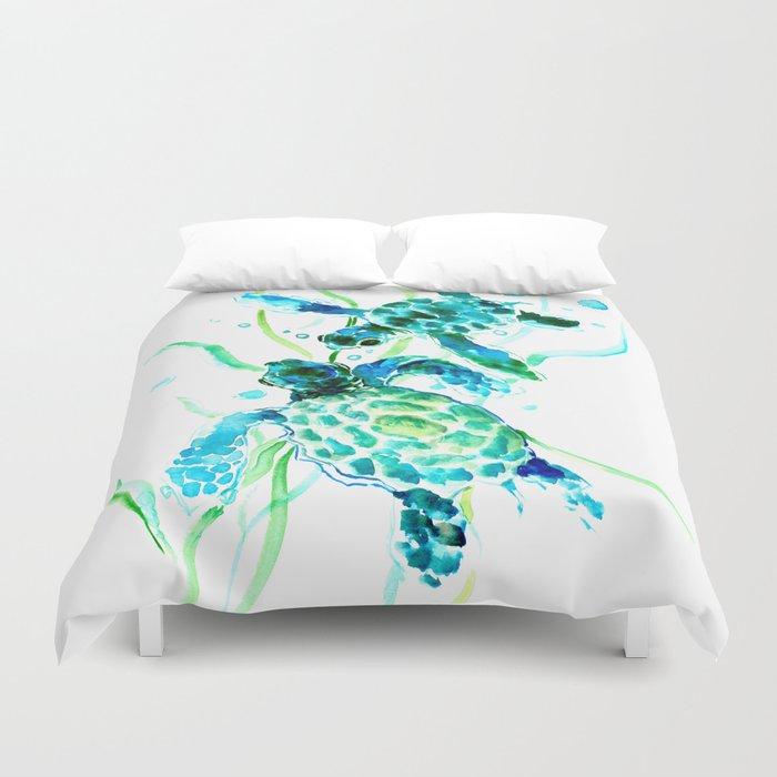 Sea Turtles, Turquoise blue Design Duvet Cover