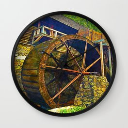 Gristmill Water Wheel Wall Clock