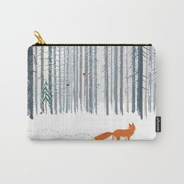Fox in the white snow winter forest illustration Carry-All Pouch