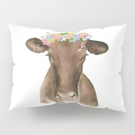 Brown Cow with Floral Wreath Pillow Sham