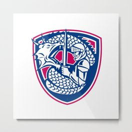Dragon and Knight Fighting Crest Metal Print