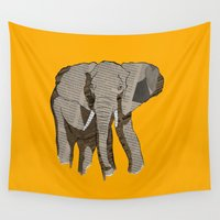 newspaper Wall Tapestries featuring Newspaper Elephant by Doolin