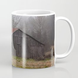 Barn in the Mist - Rustic Barn with Red Tin Roof on Foggy Day in Arkansas Coffee Mug