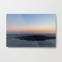 Santorini Volcano at Sunset Metal Print