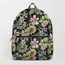 lush floral pattern with bee and beetles I Backpack