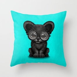 Cute Baby Black Panther Cub Wearing Glasses on Blue Throw Pillow
