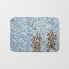 Walking away to the sea Bath Mat