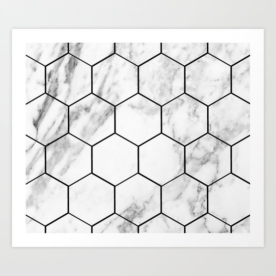 Marble hexagonal tiles - geometric beehive Art Print