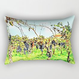 Hortus Conclusus: black grapes in the vineyard Rectangular Pillow