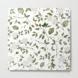 Pink And White Flower Garden Metal Print