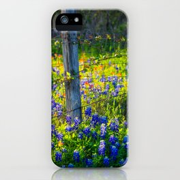 Country Living - Fence Post and Vines Among Bluebonnets and Indian Paintbrush Wildflowers iPhone Case